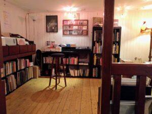 Vinyl area in a book shop